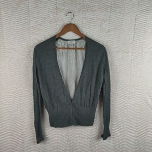 LOFT Gray Striped Loose Back Cardigan Size Medium